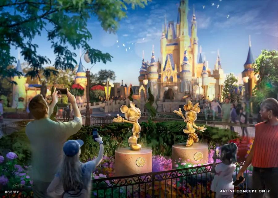 Golden 'Disney Fab 50' Sculptures to Appear Across Disney World Theme Parks