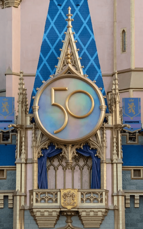 Cinderella Castle Golden 50th Crest now installed in the Magic Kingdom 4