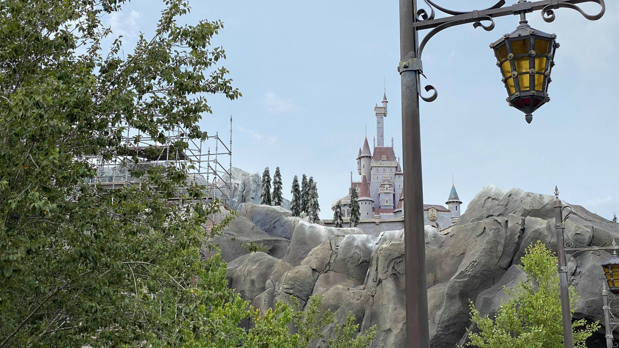 Scaffolding installed on Beauty & the Beast Castle for 50th Anniversary 2