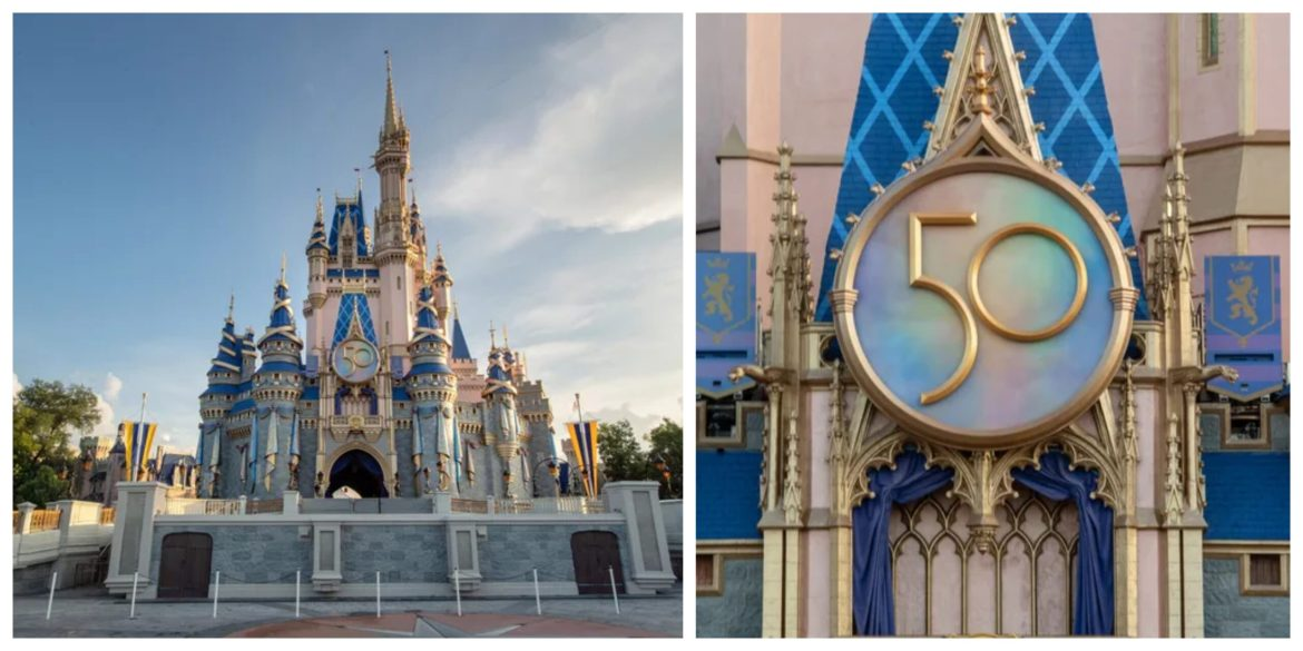 Cinderella Castle Golden 50th Crest now installed in the Magic Kingdom