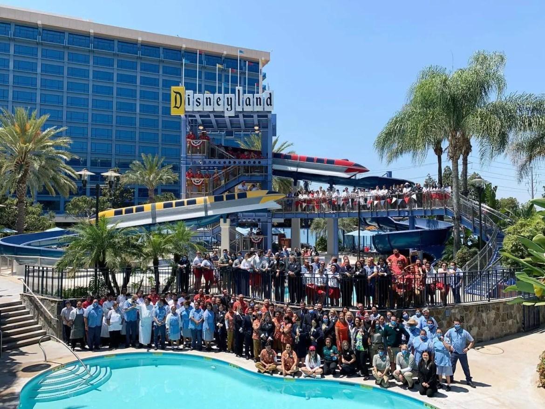 Cast Members celebrate the reopening of Disneyland Hotel