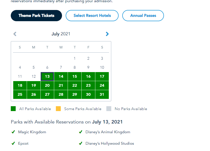 More Disney World Theme Park Reservations added for Summer 3