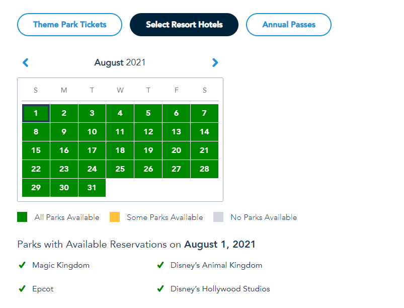More Disney World Theme Park Reservations added for Summer 7