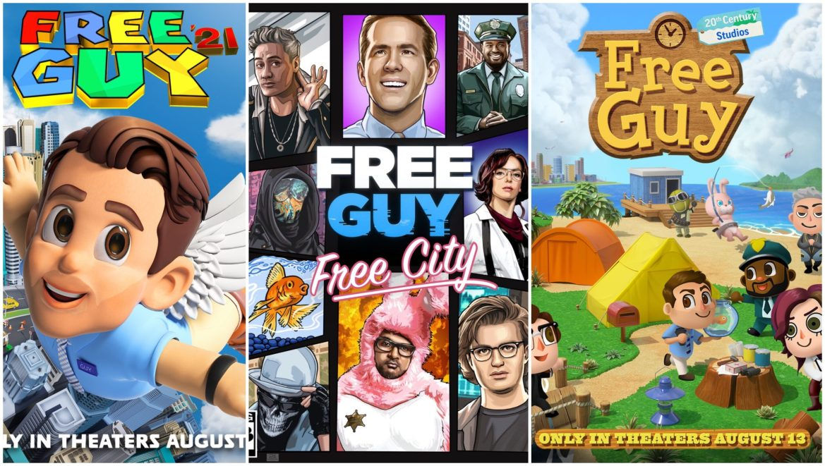 New Posters Feature 'Free Guy' Cast in Popular Video Games DOOM, Animal Crossing, Super Mario 64, and More