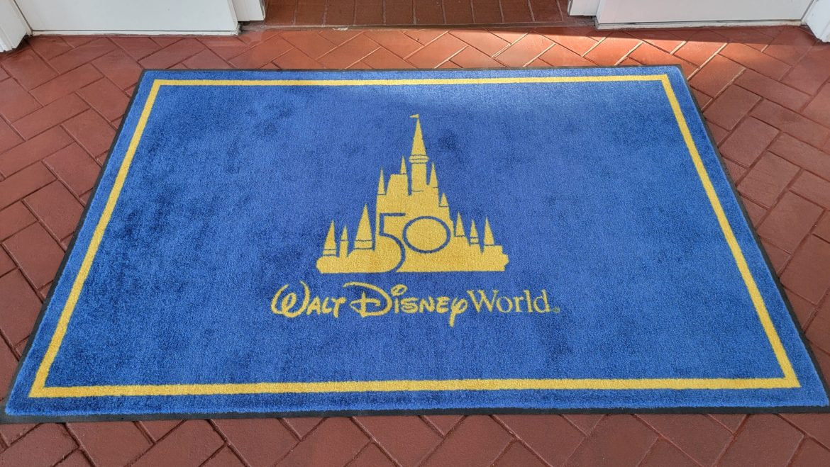 Disney World 50th Anniversary Welcome Mats appearing at the Grand Floridian