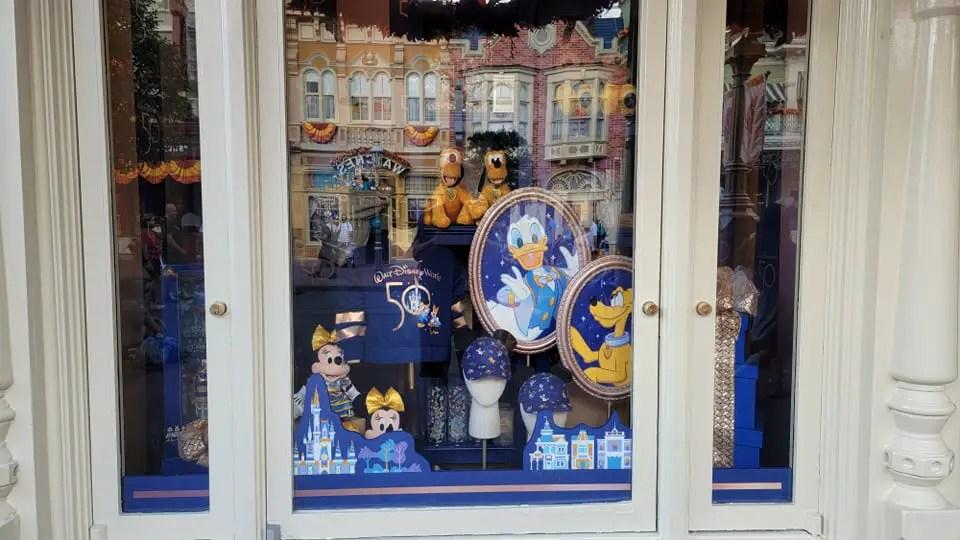 Disney World 50th Anniversary Window Displays Now at the Magic Kingdom