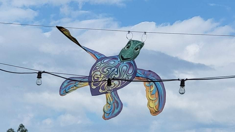 Character Kites hung in preparation for Disney's Kite Tails 8