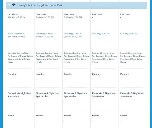 Disney World Theme Park Hours released through November 13th 5