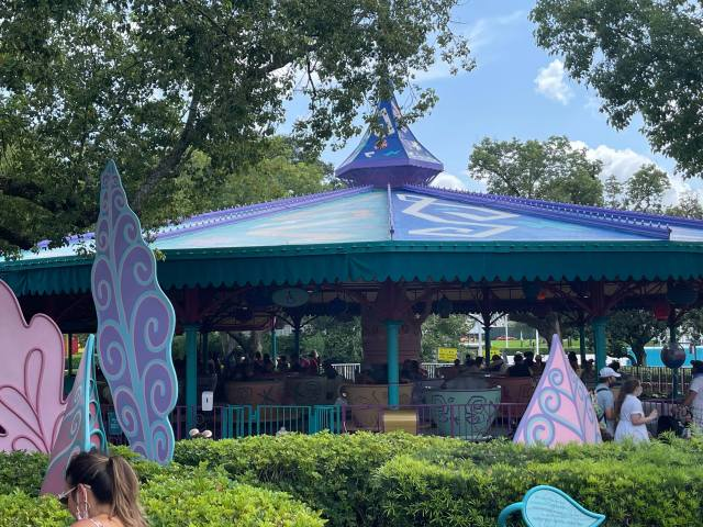 Painting Continues on Mad Tea Party for Walt Disney World's 50th 3