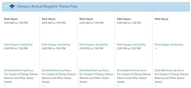 Disney World Theme Park Hours released through November 24th 5