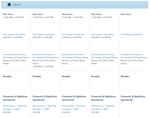 Disney World Theme Park Hours released through November 24th 3