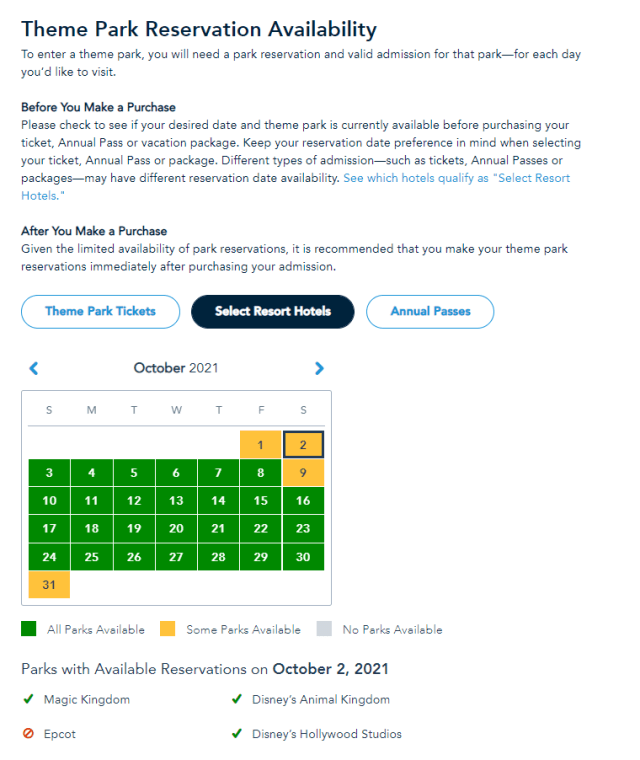 Disney Adds more park pass reservations for October except 50th Anniversary 3