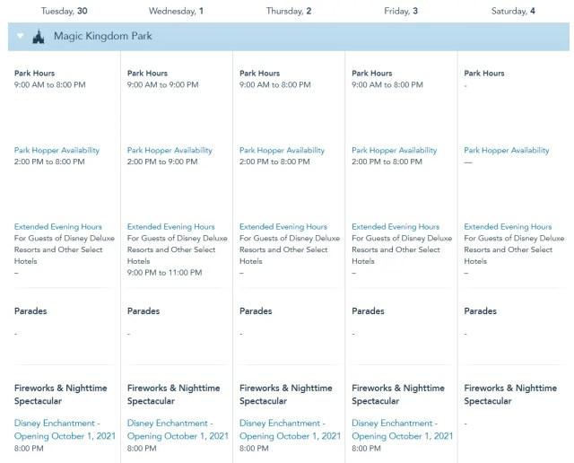 Disney World Theme Park Hours released through December 3rd 2
