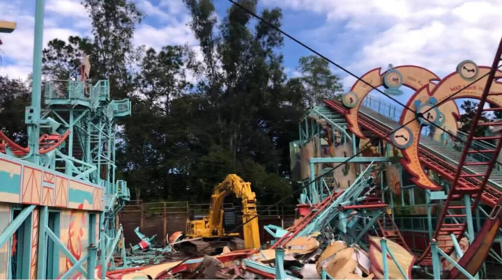 Demolition continues on Primeval Whirl in the Animal Kingdom 2