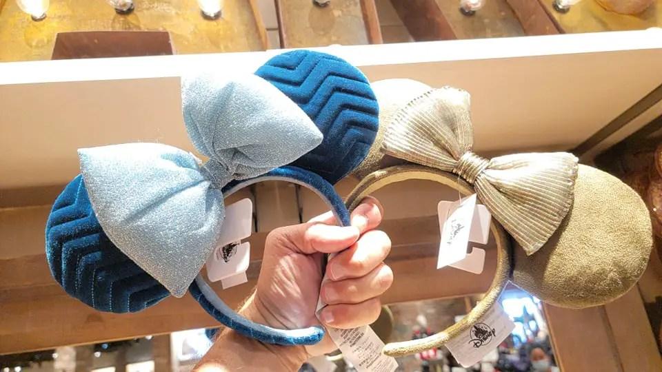 Fun New Olive Green And Azul Velvet Minnie Ears