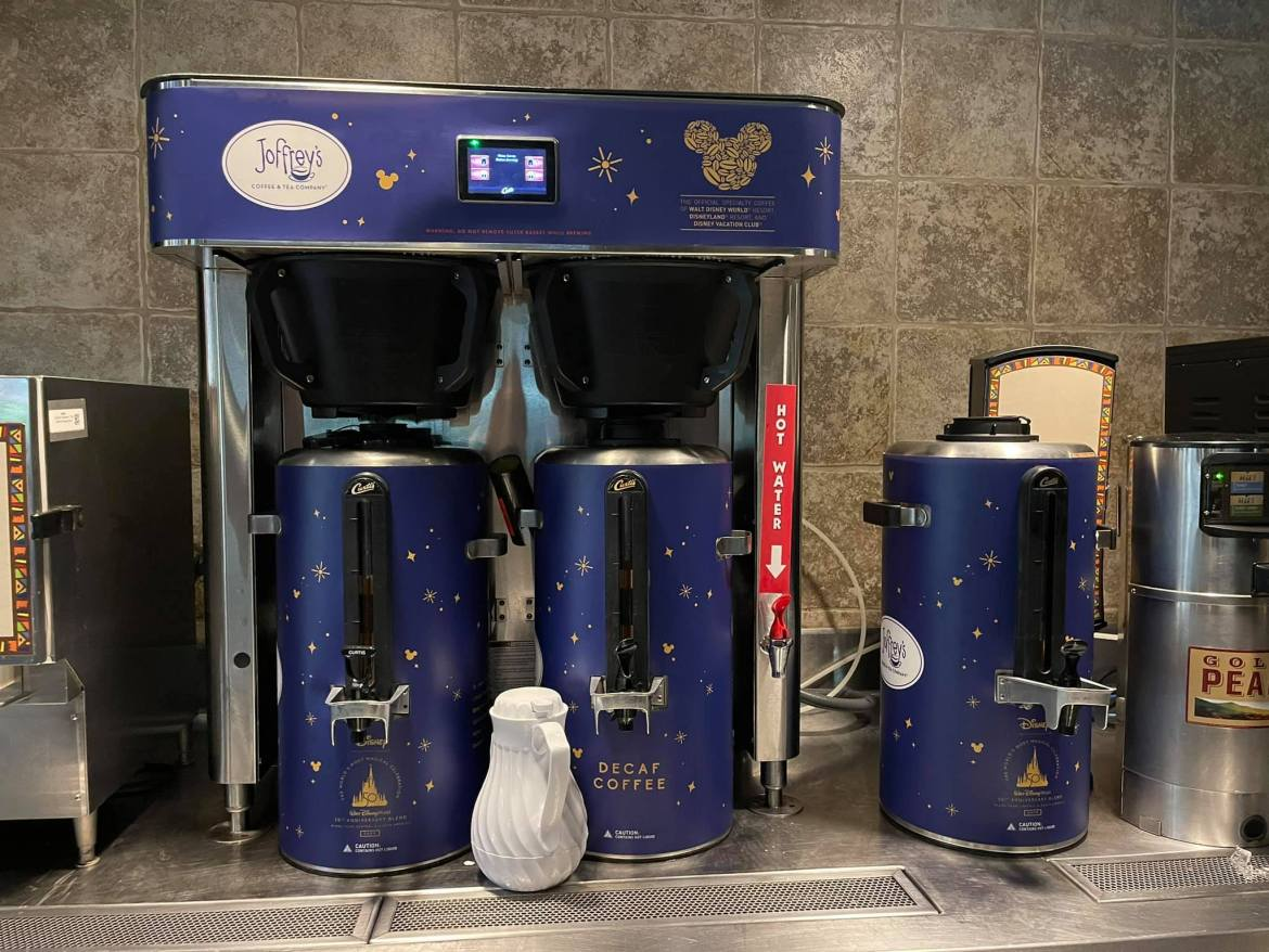 Coffee Stations around Disney World dressed up with 50th Anniversary Decorations