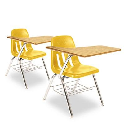 yellow classroom desks