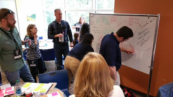 """Coaching the Blue Crew """"Charlie"""" through our design thinking challenge. Our goal was to help the Urban League of Greater Atlanta and the Mary Hall Freedom House in their partnership to move individuals from recovery or poverty to the middle class...along their highway of hope."""