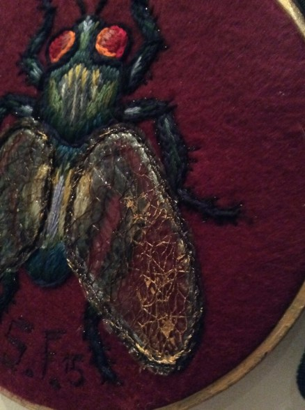 embroidered mixed media fly Suzanne Forbes 2015