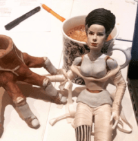Bride of Frankenstein custom OOAK doll by Suzanne Forbes WIP 2016