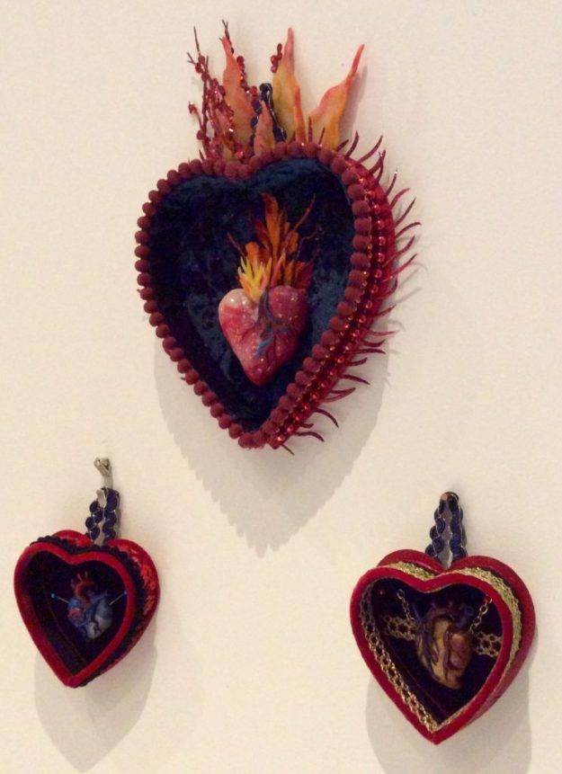 Sacred Heart mixed media milagro by Suzanne Forbes 2016