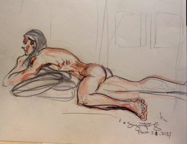 Oskar reclining 10 min by Suzanne Forbes March 24 2017