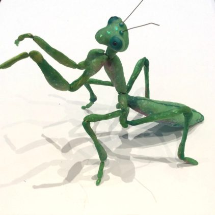 Articulated mantis sculpture by Suzanne Forbes April 2017