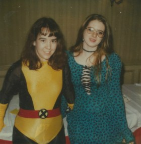 Rachel Ketchum with a New Mutant cosplayer thanksgiving 1985