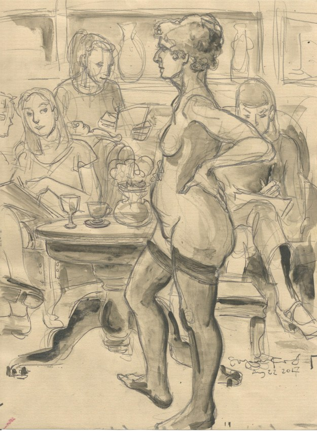 Bridge Markland posing at Dr Sketchys Berlin Aug 22 2017 by Suzanne Forbes