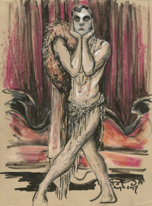 Le Pustra posing at Dr Sketchys Berlin by Suzanne Forbes at Dr Sketchys Berlin Aug 6 2017