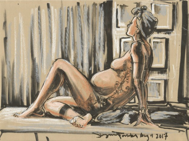 Martha reclining drawn by Suzanne Forbes at ESDIP Berlin Aug 4 2017