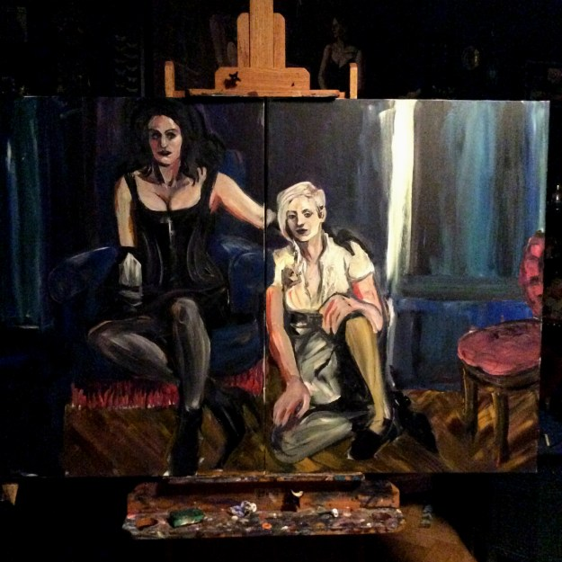 WIP Portrait of Sadie Lune and Jo Pollux by Suzanne Forbes color clarification pass Sept 24 2017