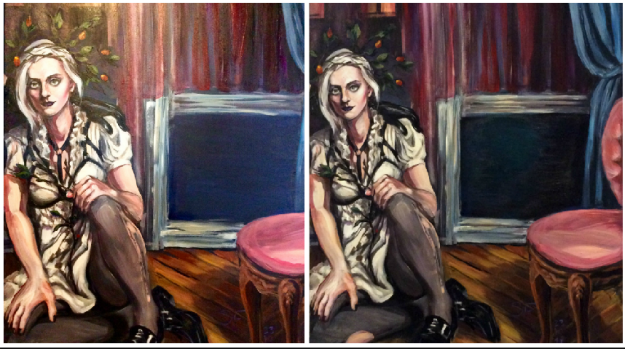 Portrait of Jo Pollux by Suzanne Forbes before and after Oct 18 2017