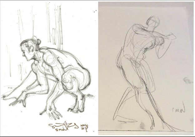 5 and 1 minute life drawings by Suzanne Forbes at ESDIP Berlin Nov 10 2017