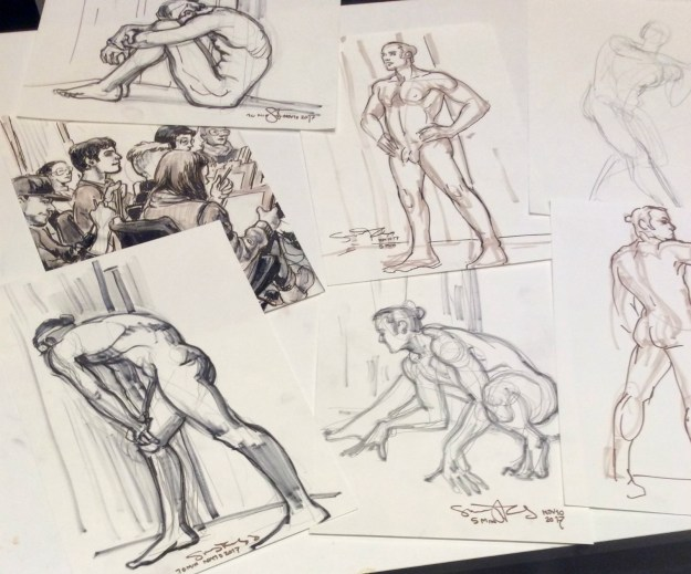 10 minute life drawings by Suzanne Forbes at ESDIP Berlin Nov 10 2017