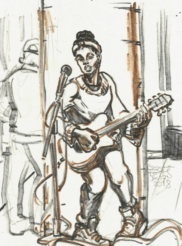 Woman singing in the U Bahn by Suzanne Forbes Jan 17 2018