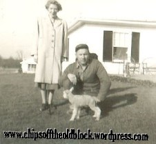 My father with one of his lambs. His cousin Jennie Belle Coleman stands nearby. Early 1950s.