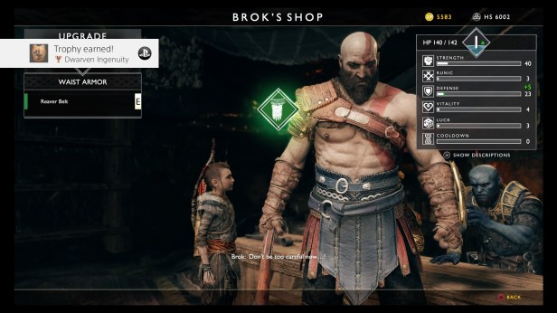 Upgrade Armor/Ability menu