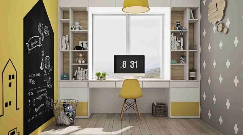Yellow kids study room 1 Kid's study room and workspace