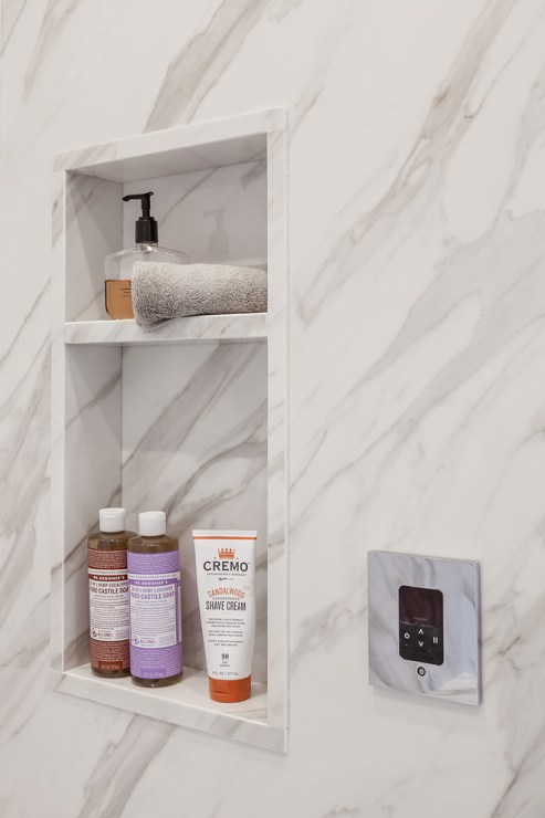faux marble shower niche michelle s interiors img ffe1bd210cd05526 9 7953 1 5f2763f Small Bathroom Design Ideas