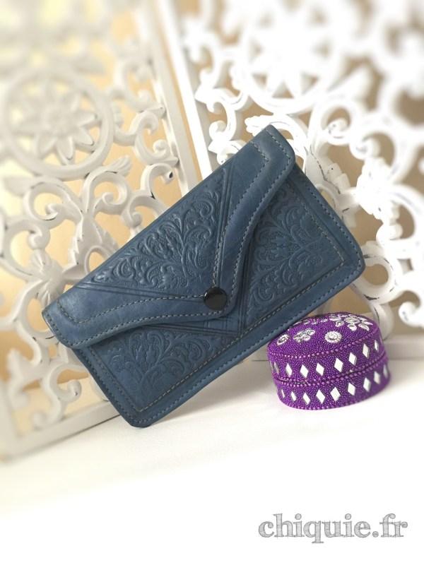 pochette marocaine bleu