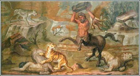 Pholus battling wild beasts.