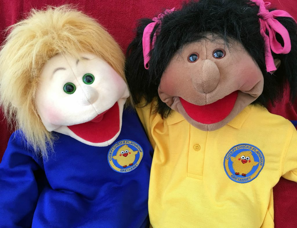 Max and Izzy with Chirpy Chicks uniforms for September 2016