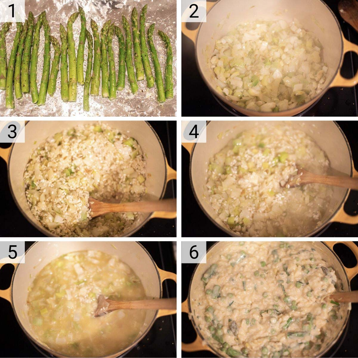 process shots of how to make spring risotto
