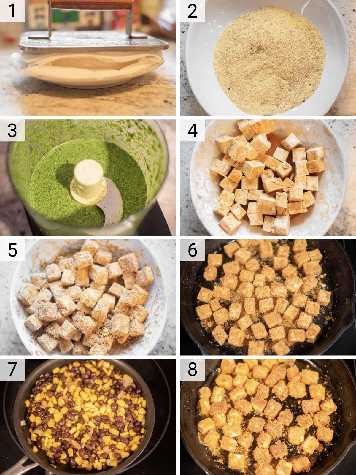 process shots of how to make tofu tacos