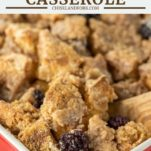 spoon dipped in blackberry french toast casserole