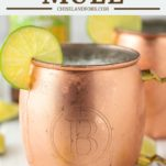 two moscow mules in copper mugs with ginger beer in background