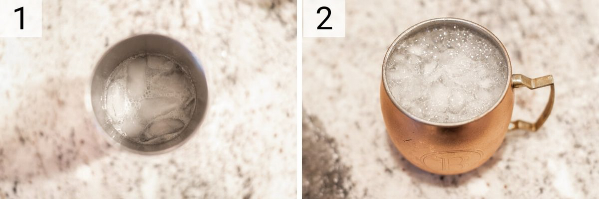 process shots of how to make Moscow Mule