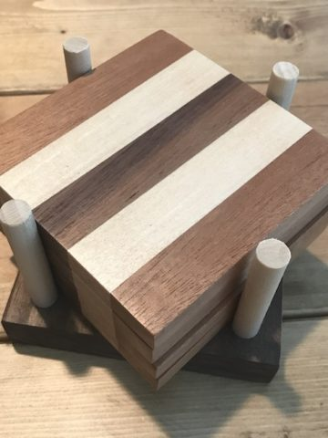 wooden coasters on table