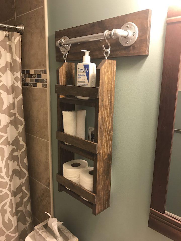 side shot of bathroom wall organizer